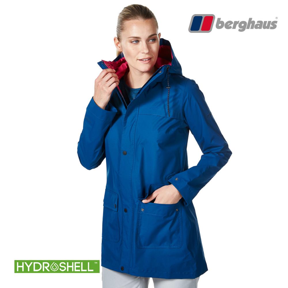【Berghaus貝豪斯】女款HydrShell防水透氣長版外套H22F30深海藍