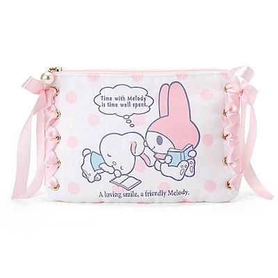 Sanrio 美樂蒂甜蜜利茲姆系列緞帶裝飾防潑水扁平化妝包