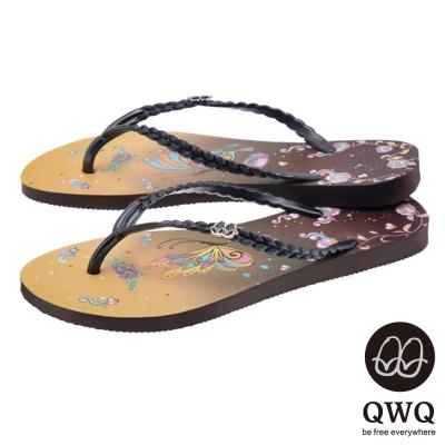 QWQ夾拖的創意(女) - 藝術塗鴨 彩蝶 夾腳拖鞋 - 咖黑