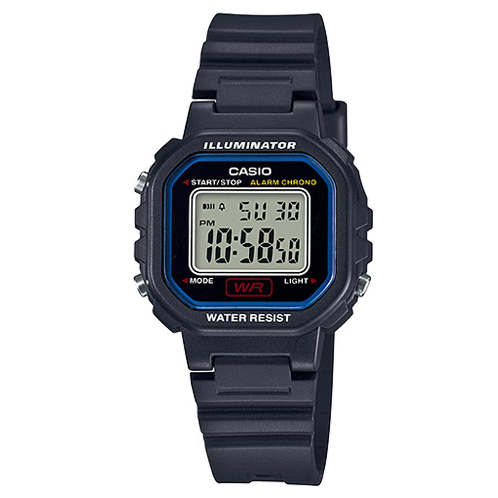 CASIO 黑色炫風方形電子錶(LA-20WH-1C)-藍線框/30.4mm