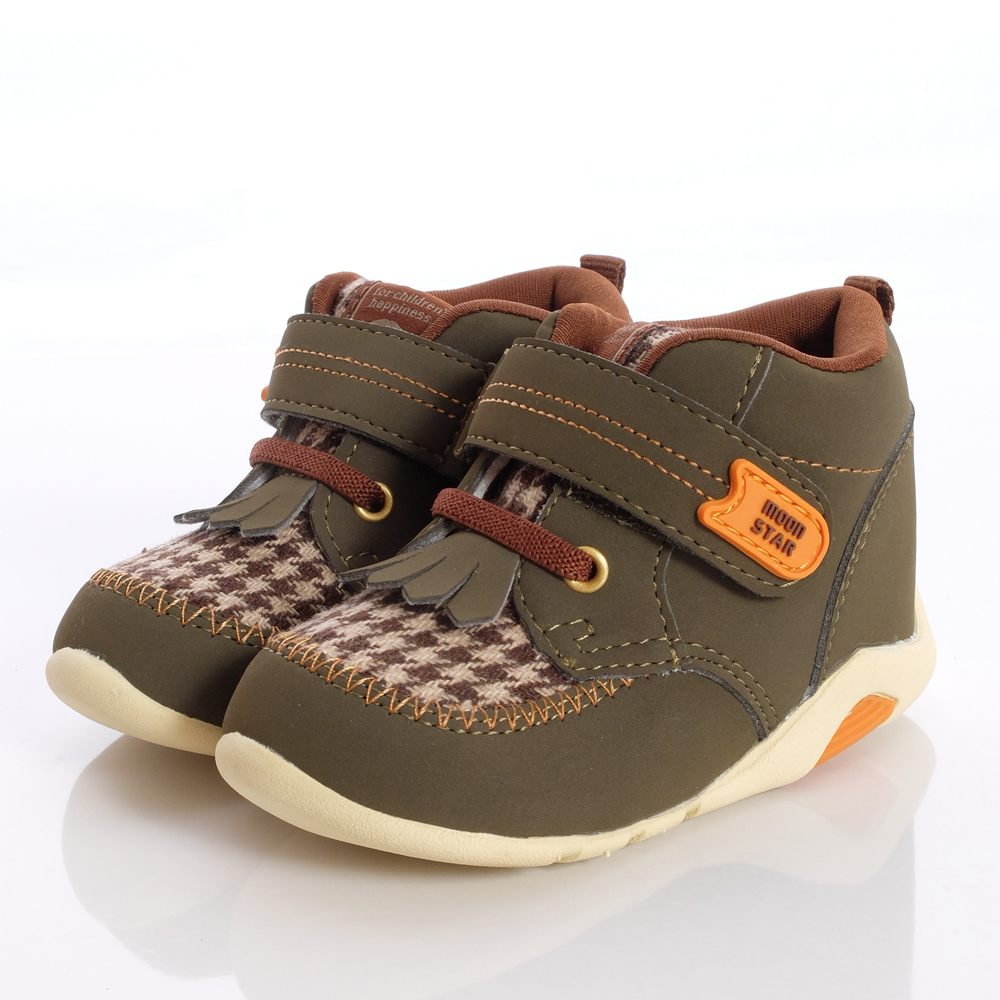 日本Carrot機能童鞋-編織格紋護踝款-B603(寶寶段)HN