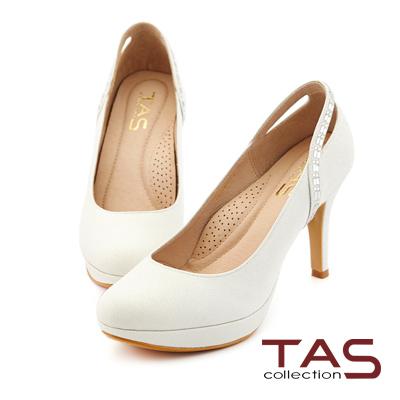 TAS 後鏤空方鑽曲線金蔥高跟鞋-美型白