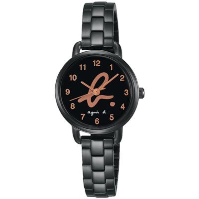 agnes b. 就愛巴黎 藝術Logo腕錶(BH8043X1)-黑x玫塊金字/27mm