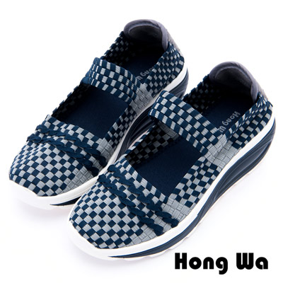 Hong Wa - 運動休閒透氣菱格紋編織布鞋 - 藍
