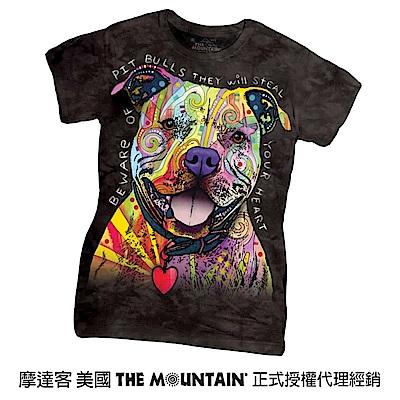 摩達客 美國進口The Mountain 彩繪比特犬  短袖女版T恤