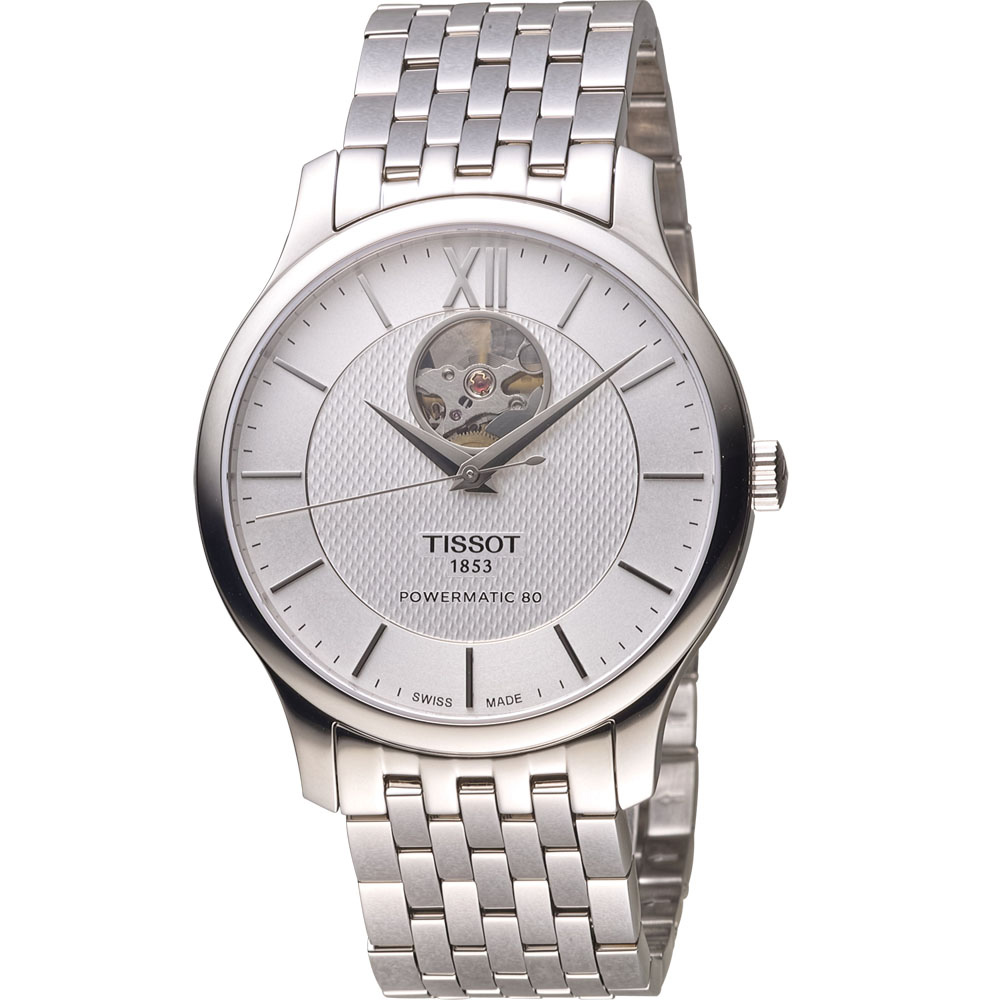 TISSOT TRADITION 古典風格自動機械錶-銀白/40mm