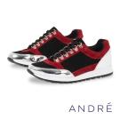 ANDRE-義大利製造拼接活力休閒平底鞋-個性黑紅