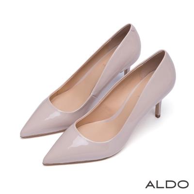 ALDO-瀟灑都會風原色漆皮尖頭流線高跟鞋-氣質裸