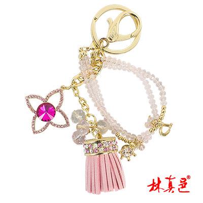 林真邑-粉晶彩鑽流蘇招桃雙效鑰匙圈