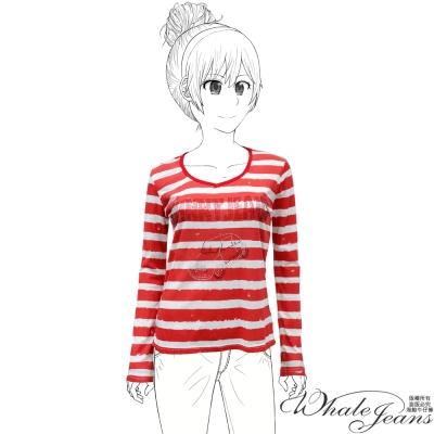 WHALE JEANS 美式休閒輕透百搭條紋配色棉麻長袖T恤(2色)