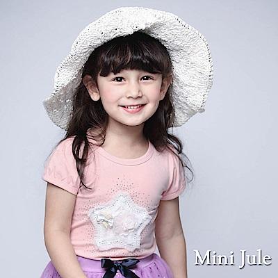 Mini Jule 童裝-上衣 花朵星星水鑽短袖T恤(豆粉)