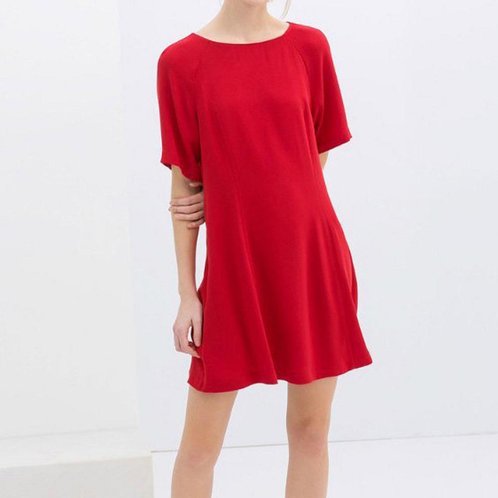 圓領純色短袖洋裝(共二色)