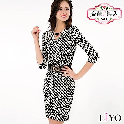 LIYO理優MIT幾何印花洋裝(黑)