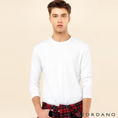 GIORDANO 男裝簡約素色基本款磨毛圓領長袖T恤 - 01 標誌白
