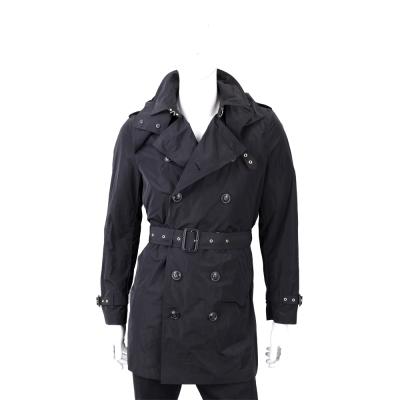 BURBERRY 雙排釦連帽黑色中長版防風外套(男款)