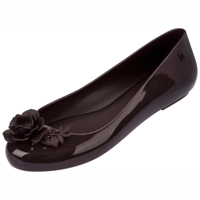 MELISSA 設計師立體古典玫瑰娃娃鞋-咖啡