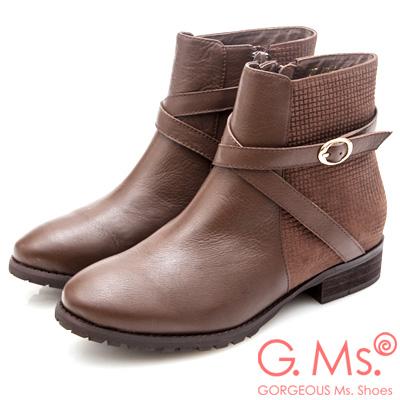 G.Ms. 牛皮拼接格紋交叉皮帶釦短靴-咖啡