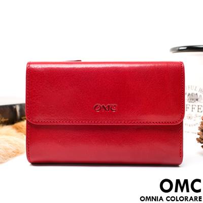 OMC - 原皮魅力真皮系列三折多卡式中夾-經典紅