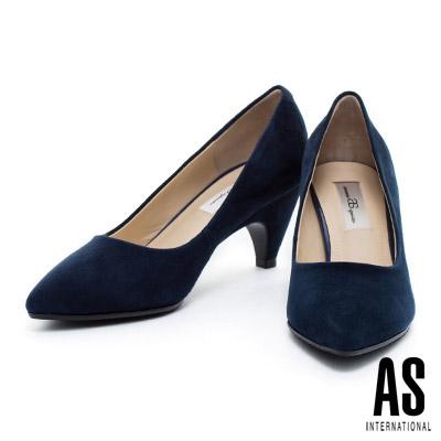 高跟鞋-AS-細緻羊麂皮素面尖頭高跟鞋-藍