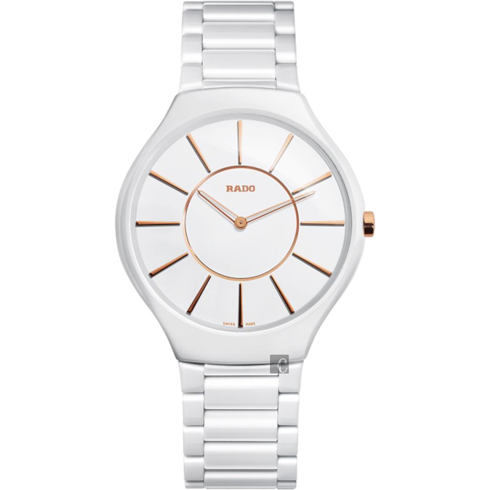 RADO雷達 真薄系列陶瓷石英錶(R27957102)-白/39mm