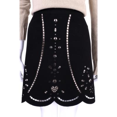 MOSCHINO 黑色鏤空雕花及膝裙