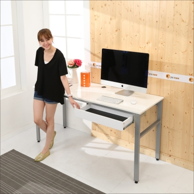 BuyJM 鏡面低甲醛80公分穩重型單抽屜工作桌-DIY