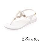 Chichi 華麗圓圈水鑽夾腳涼鞋*白色