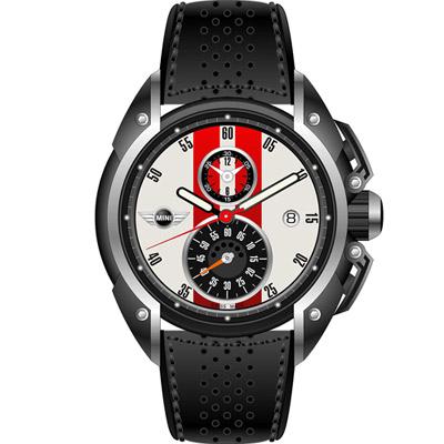 MINI Swiss Watches 跑旅時尚計時腕錶-白x黑/45mm