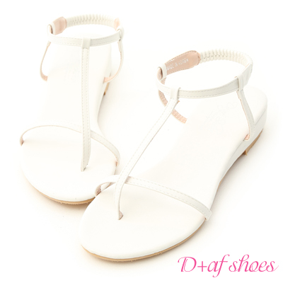 D+AF 純真夏氛.簡約T字線條低跟涼鞋*白