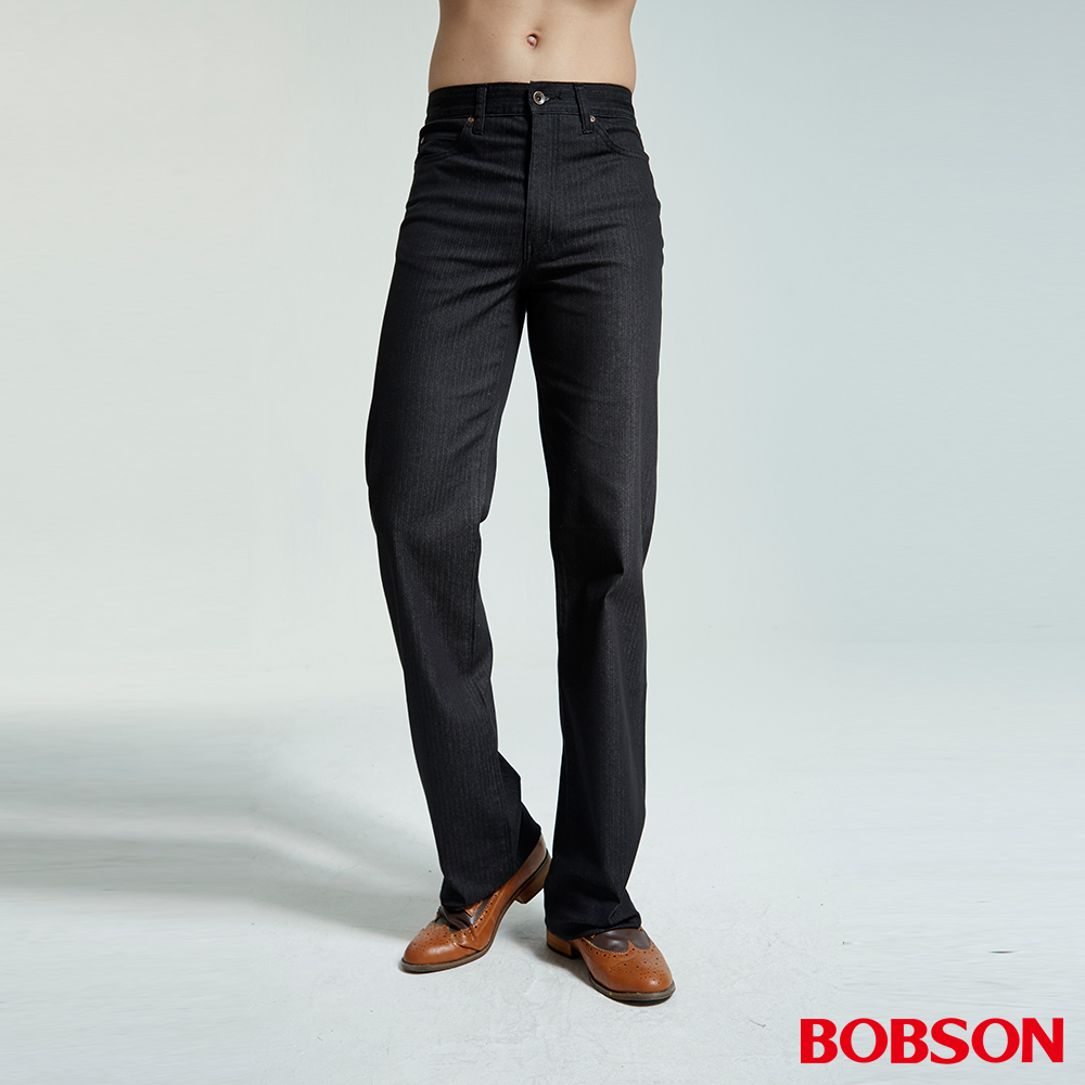 BOBSON 男款人字斜紋伸縮黑色直筒褲
