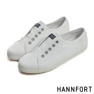 HANNFORT CALIFORNIA無綁帶氣墊帆布鞋-女-簡單白