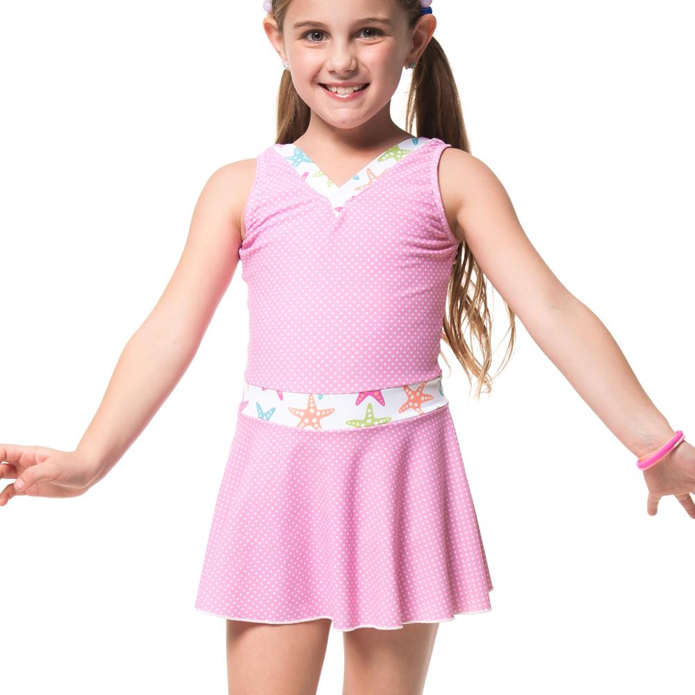 沙兒斯兒童泳衣粉紅連身裙式女童泳裝