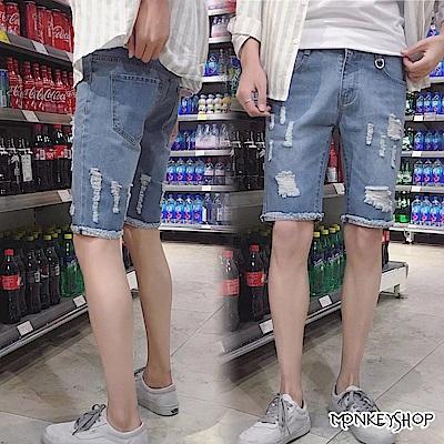 Monkey Shop 個性不收邊抓鬚褲管休閒牛仔短褲