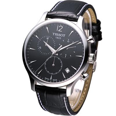 TISSOT T-TRADITION 極簡雅士計時腕錶-黑/42mm