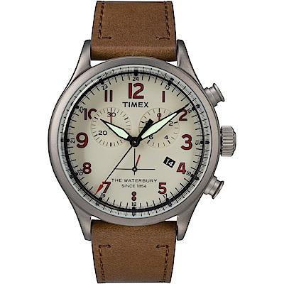【TIMEX】天美時Waterbury系列 雙眼計時手錶-米白x咖啡色/42mm