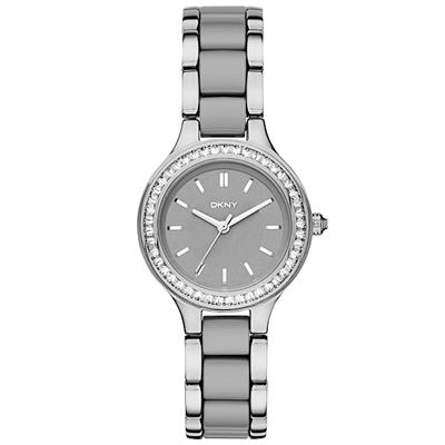DKNY 蝶戀尤物晶鑽陶瓷腕錶-銀x雙材質錶帶/29mm