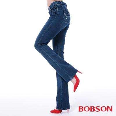 BOBSON   女款高腰膠原蛋白小喇叭褲-深藍