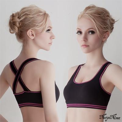 運動內衣 無鋼圈 交叉美背運動內衣S-XL(黑) Naya Nina
