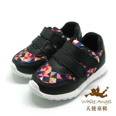 天使童鞋-L0681 輕量型馬賽克休閒運動鞋(小童)-酷帥黑
