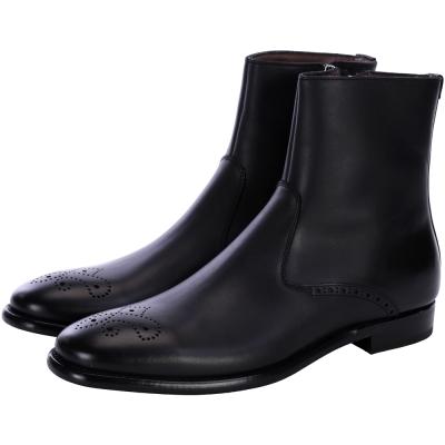 YSL 雕花設計牛皮短靴(男款/黑色)