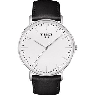 TISSOT 天梭 Everytime 經典雋永腕錶-銀x黑色錶帶/42mm