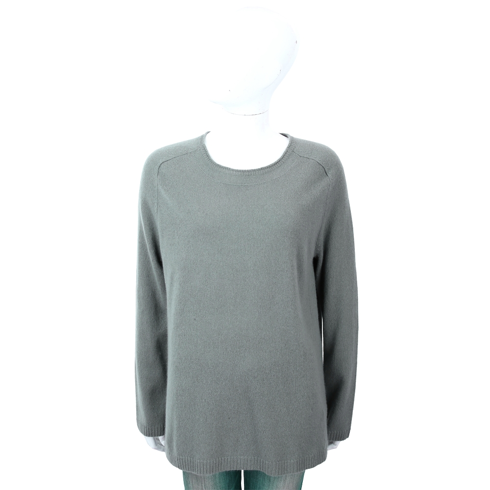 ALLUDE 100%喀什米爾灰綠色圓領針織羊毛衫