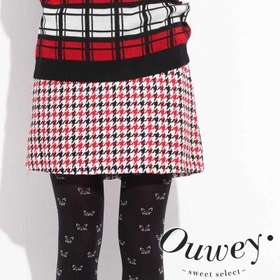OUWEY歐薇-黑紅千鳥格紋裙