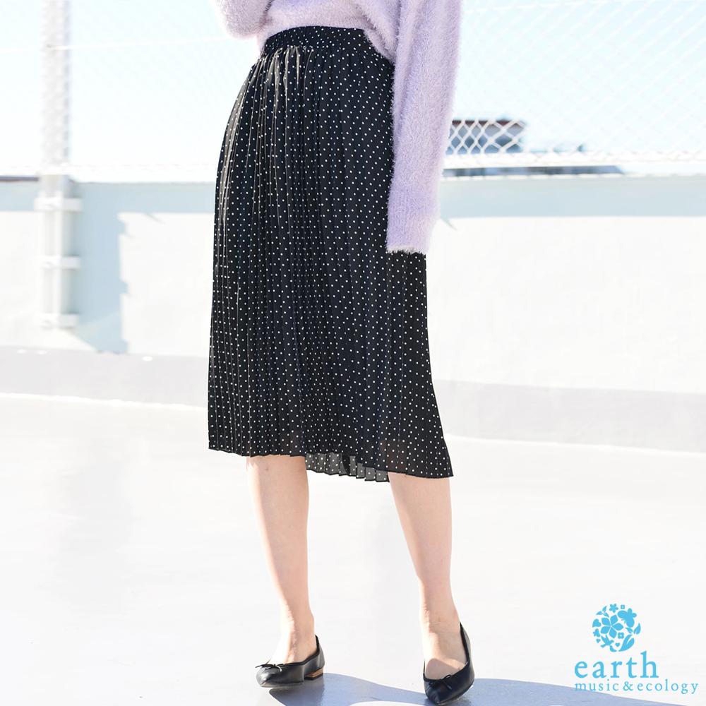 earth music 氣質百褶過膝裙