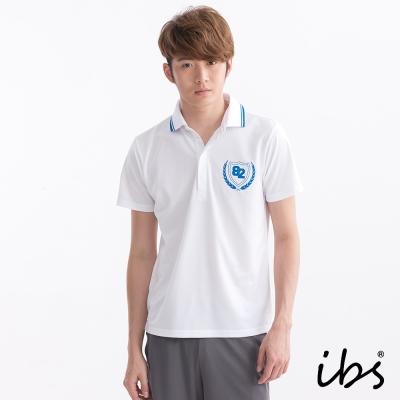 ibs徽章印花polo衫-白