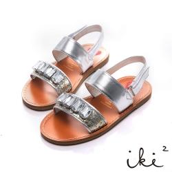 iki2童鞋-流星彩沙真皮寶石涼鞋-銀