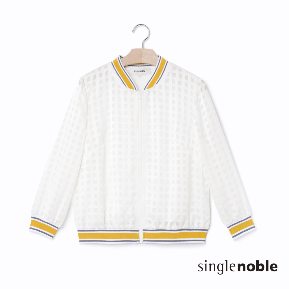 獨身貴族運動風潮格紋透視面料布勞森外套2色