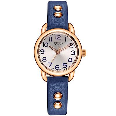 JULIUS聚利時 搖滾甜心鉚釘錶帶腕錶-藍色/28mm