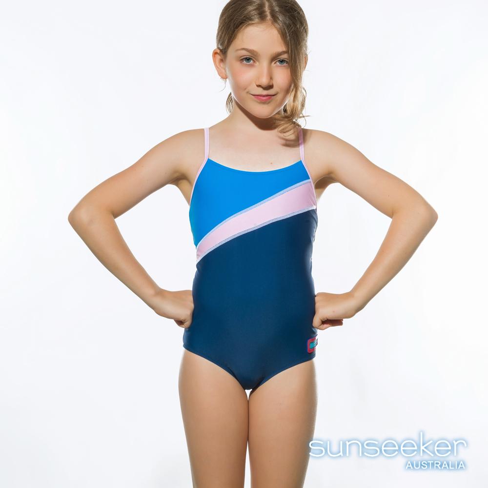 澳洲Sunseeker泳裝抗UV防曬連身式泳衣-大女童/粉藍