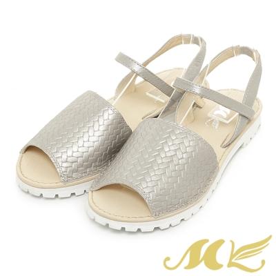 MK-台灣製真皮系列-韓系鬆緊設計平底涼鞋-白色